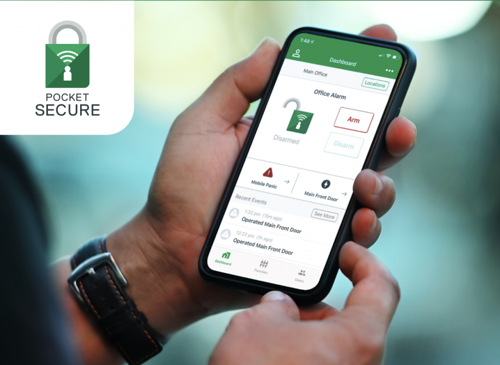 person checking out the dashboard of his pocket secure app on smartphone